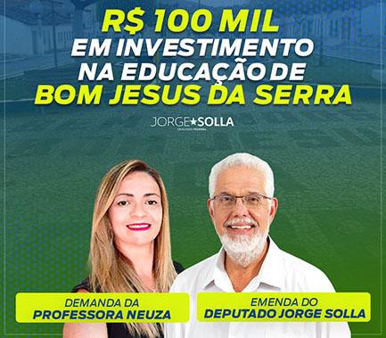 Cem mil reais em emenda parlamentar para a educação de Bom Jesus